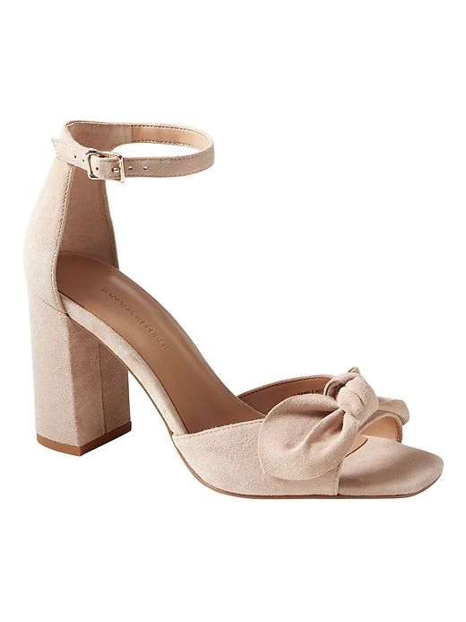 02fe1d0f40a Banana Republic Womens Bare High Block-Heel Bow Sandal Sand Beige Suede