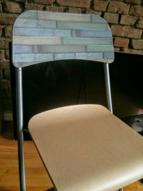 Decoulpaged barchair. #ikeahack #diy #green #blue