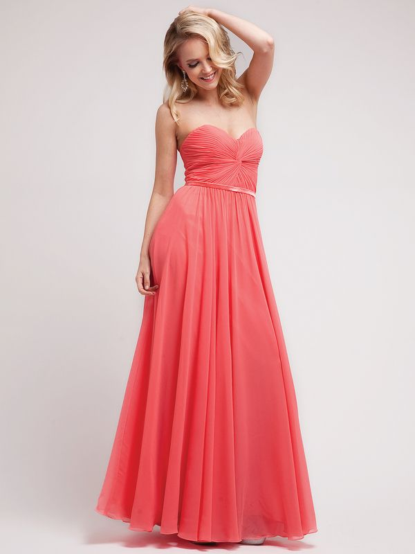 7455 Sweetheart Twisted Front Evening Dress - Coral, Front View Medium