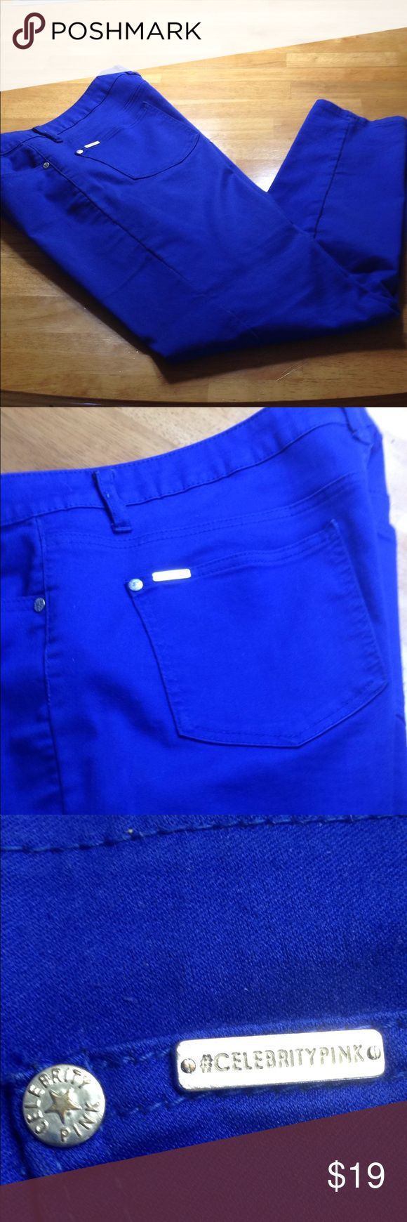 Royal Blue Jean Style Pants Worn a few times. Nice royal blue size 15 stretchy jean style pants with front and back pockets. No tears or stains. By CelebrityPink. CelebrityPink Pants Straight Leg