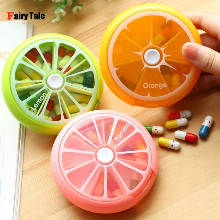 Outdoor Travel Pill Case Portable 7-Day Rotating Weekly Medicine Box Dispenser Cute Candy Color Storage Container Round
