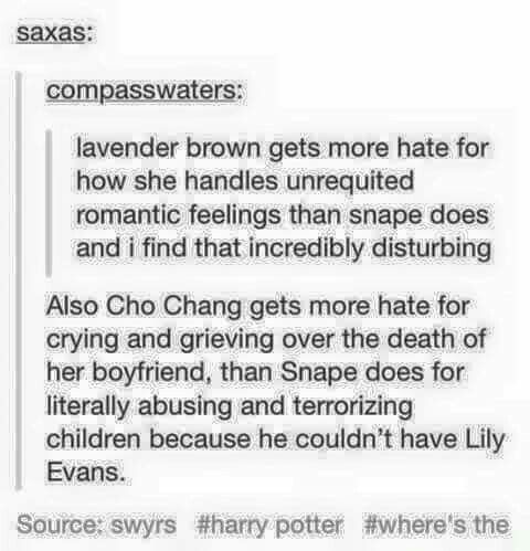 I think we all support Snape irrationally because of Alan rickman and how much he is loved... In truth Snape is not a strong person neither a hero... A great spy yes.. But not a great person and obviously not a better choice than james potter..