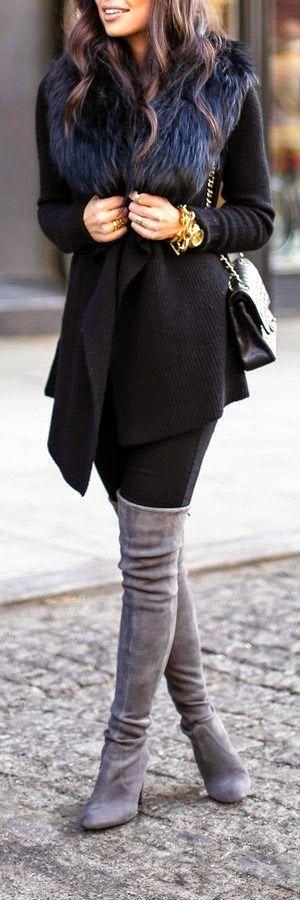 #winter #fashion /  Faux Fur Scarf + Black Coat