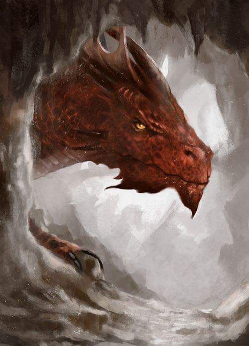Lovely red dragon looking out of cave by Rodmendez