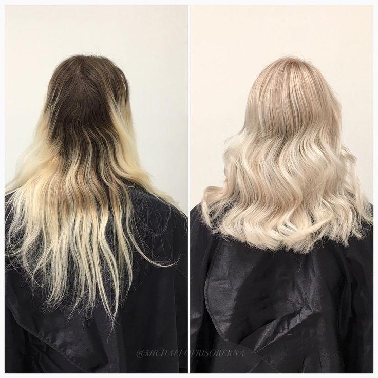 Makeover deluxe. ✨ Från en gammal färg till ett vackert blont hår. ❤ Vad tycker du ?  #longhair #långthår #beforeandafter #blonde #brunette #michaelofrisorerna #michaelochfrisörerna #cutandcolour #olaplex #lorealcolor #smartbond #hairpassion