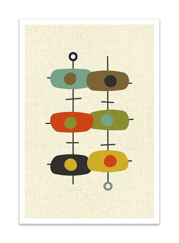 TANDEM  Giclee Print  Mid Century Modern Danish Modern by Thedor, $24.00