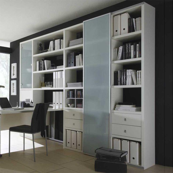 Cute Wohnzimmer Aktenschrank mit Schreibtisch Lack wei B cherregal Wohnwand Schrank