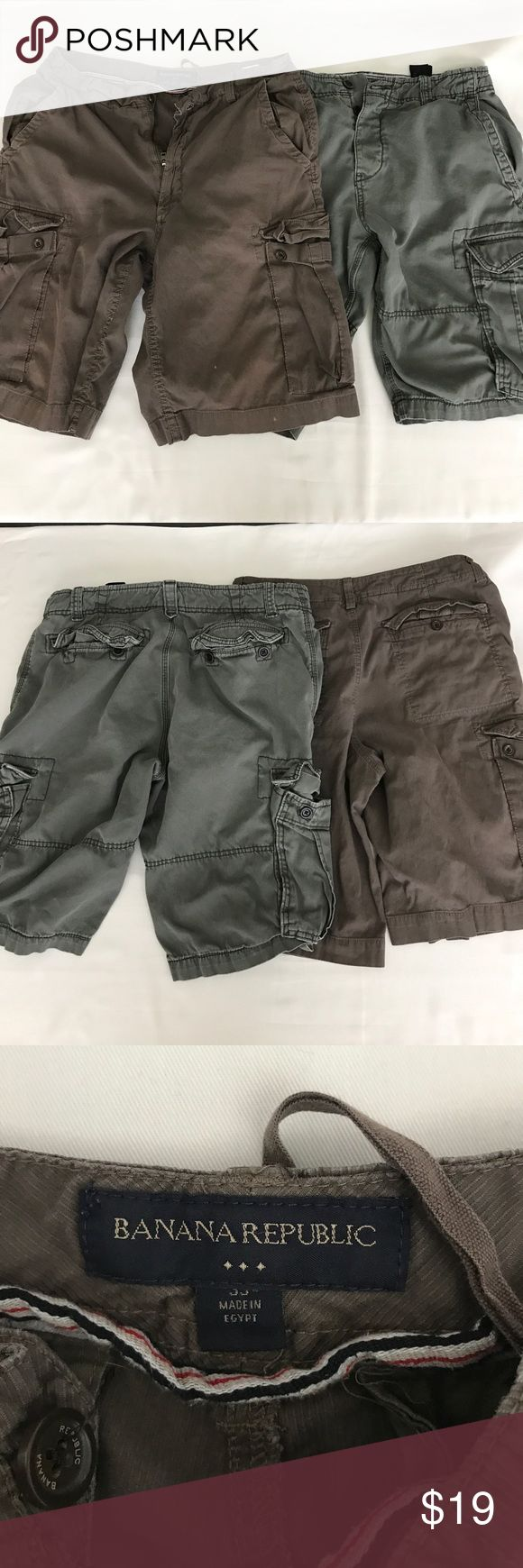 Banana Republic cargo shorts bundle deal. Banana Republic, cargo short bundle deal. Can't go wrong with these cargo shorts.  Stone washed look. Banana Republic pair of shorts has 2 tiny bleach stains. See pics.  Priced to sell. Banana Republic Shorts Cargo