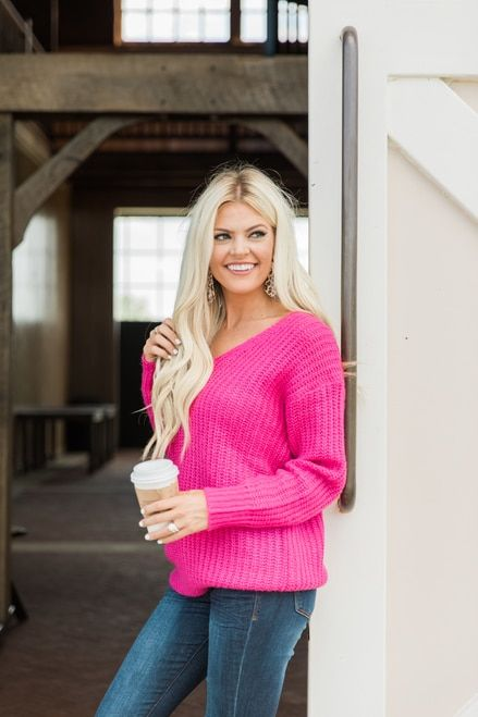 870508b92b72 Don't Be Afraid To Fall In Love Sweater Hot Pink CLEARANCE in 2019 | Cute  Styles! | Sweaters, Hot pink, Pink