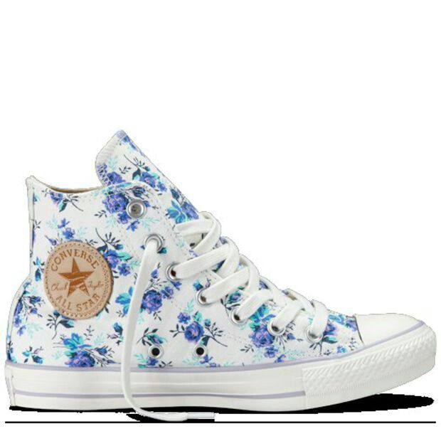 blue and purple floral print-- don't normally like high tops, but these are fab