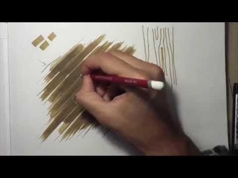 Как рисовать текстуру паркета маркерами. Интерьерный скетчинг - YouTube