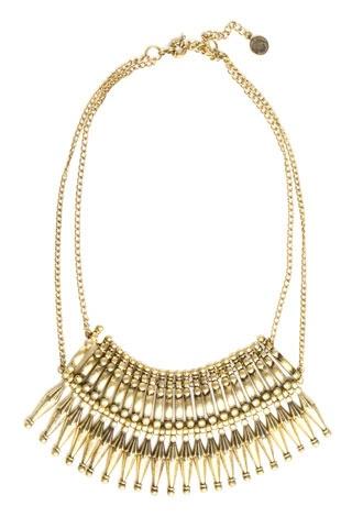 H necklace, All Saints rustica collar, Bluedame's short metal sunburst bib necklace.