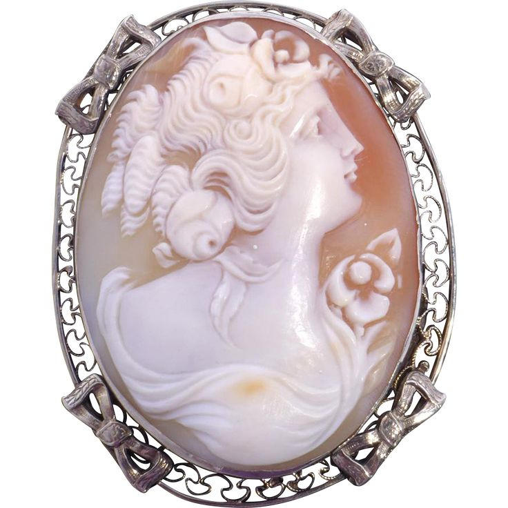 Antique Edwardian 14kt White Gold Cameo Brooch Pendant Hand Carved Shell available at My Vintage Clothes Line on Ruby Lane.
