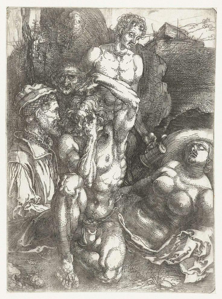 Albrecht Dürer   Studieblad met vijf figuren ('De wanhopige man'), Albrecht Dürer, 1513 - 1517   Een man met de handen in het haar, een slapende naakte vrouw, een man met een drinkkan, een gezicht van een oude man, en een man met een hoed en een baard.
