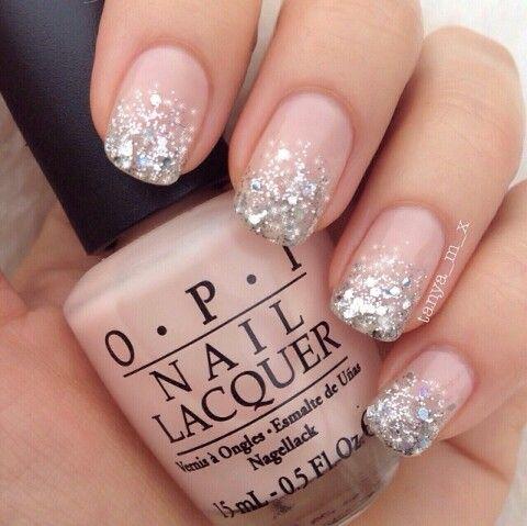 Pretty nude mani with glitter
