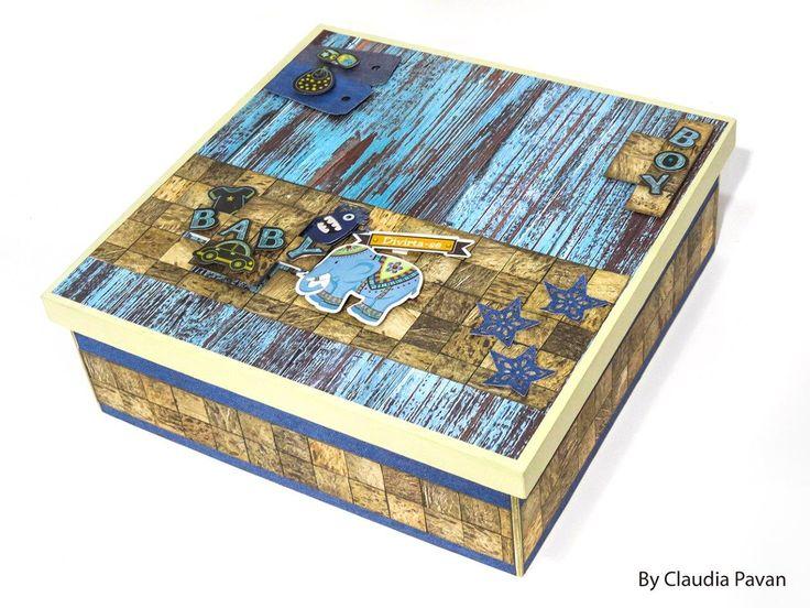 caixa decorada com papéis de texturas