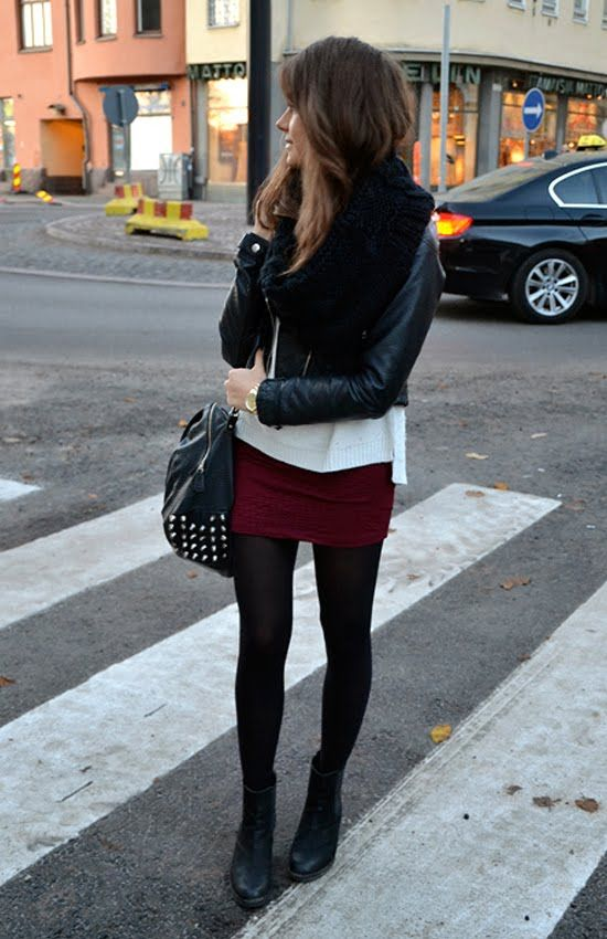 burgundy skirt, leather jacket, black tights and black wedge boots <3