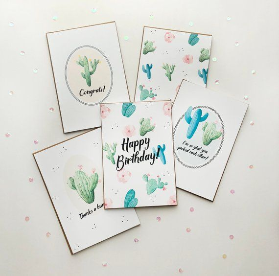 Cacti Card Pack 5 Cards Cactus Card Every Occasion Cards Happy Birthday Card Congrats Car Congrats Card Greeting Cards Handmade Birthday Cards