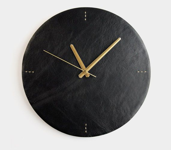 Black Leather Wall Clock Modern Wall Clock Letoon by Roarcraft