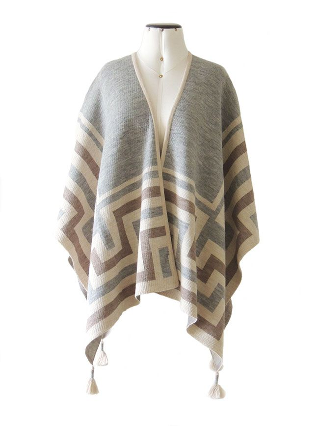 Ruana wrap creme-grey-sand,  with graphic design  in 100%  soft  baby alpaca. with 4  tassels