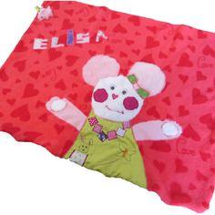 Couverture polaire pour bébé personnalisée rose fushia sur le thème des souris
