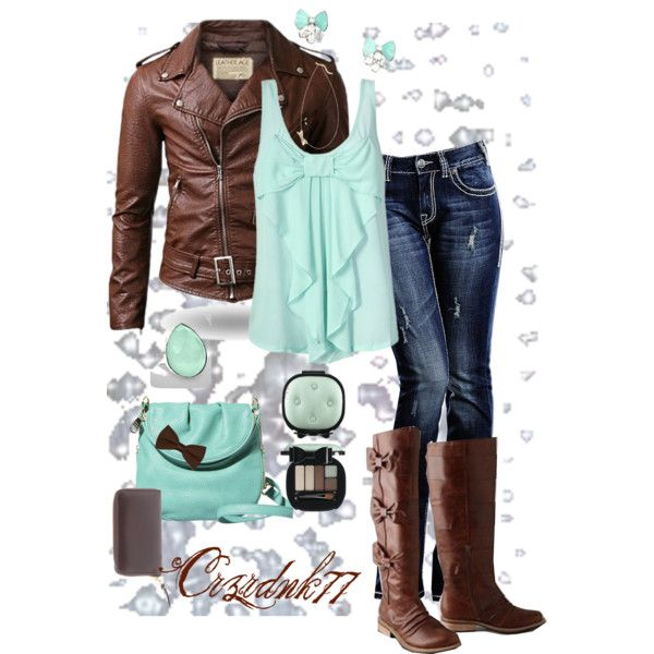 """""""Mint and Brown Bows"""" by crzrdnk77 on Polyvore"""