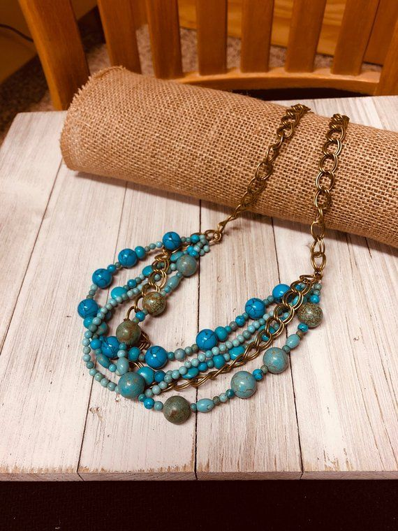Multi Strand Turquoise Necklace, Chunky Stone Statement