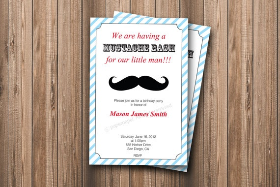 Mustache Bash Boy Birthday Invitation by PaperPapelShop on Etsy, $10.00