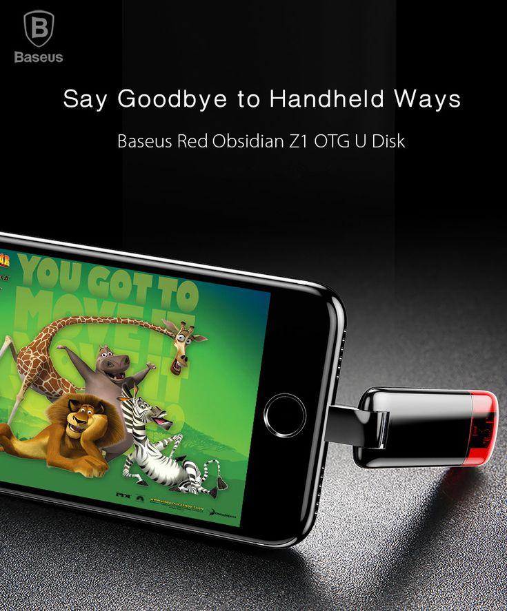 Baseus Red Obsidian Z1 32G 64G U Disk Micro USB OTG U Disk for iPhone 8 iPhone X Samsung Xiaomi