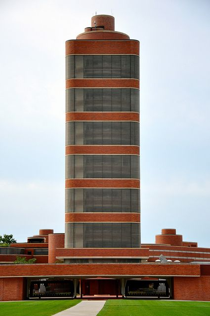 Johnson Wax Tower by architect Frank Lloyd Wright.  1936-1939