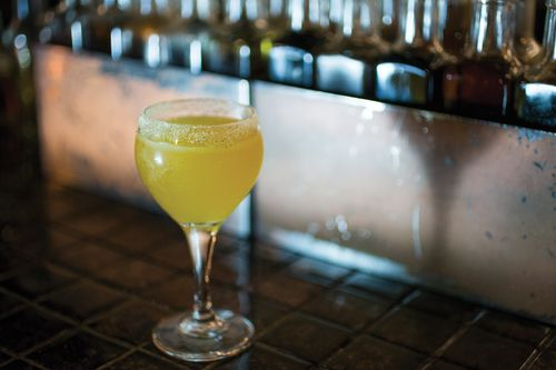 #Cocktail #recipe - Nature Boy from Shannon Ponche of Mayahuel: Chile de Arbol-infused Del Vida #Mezcal, Suze, Lime Juice, Yellow Bell Pepper Juice, Agave, #Pepita Salt