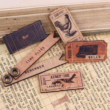 Prima - Almanac Collection - Wood Embellishments - Tickets at Scrapbook.com $4.99