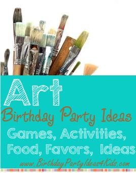 Art Birthday Party Theme - Birthday Party Ideas 4 Kids    Art themed birthday party ideas, games, activities, crafts, invitation ideas, party food, favors and more! http://www.birthdaypartyideas4kids.com/art-birthday-party-theme.htm