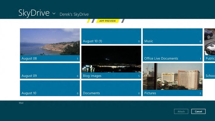 A screenshot of SkyDrive for Windows 8