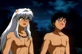 InuYasha and Miroku shirtless.