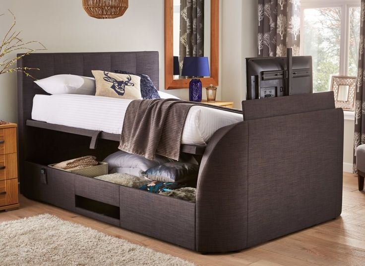 Evolution Slate Grey Fabric LG LED TV Ottoman Bed Frame | Tv beds,  Contemporary design and Slate