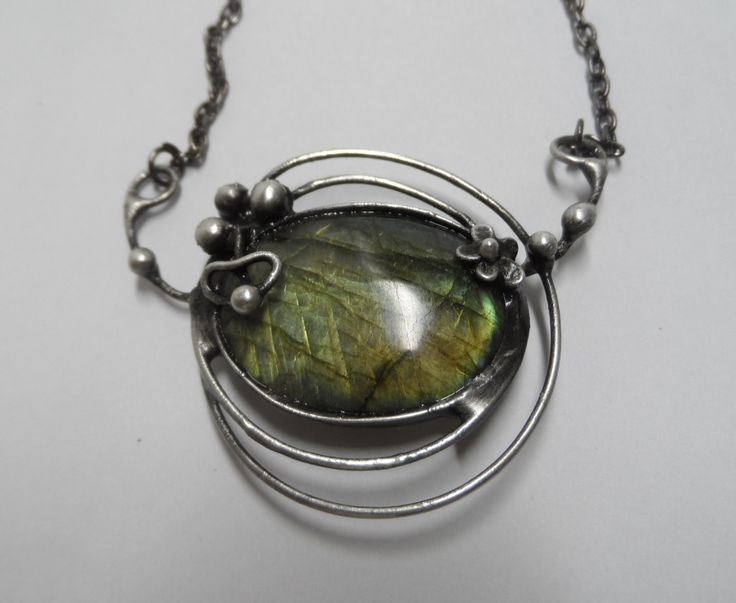 Metal necklace with Gemstone labradorite .Pendant is handmade.Tiffany technique, Healing Stone, jewellery . by Helenamode on Etsy