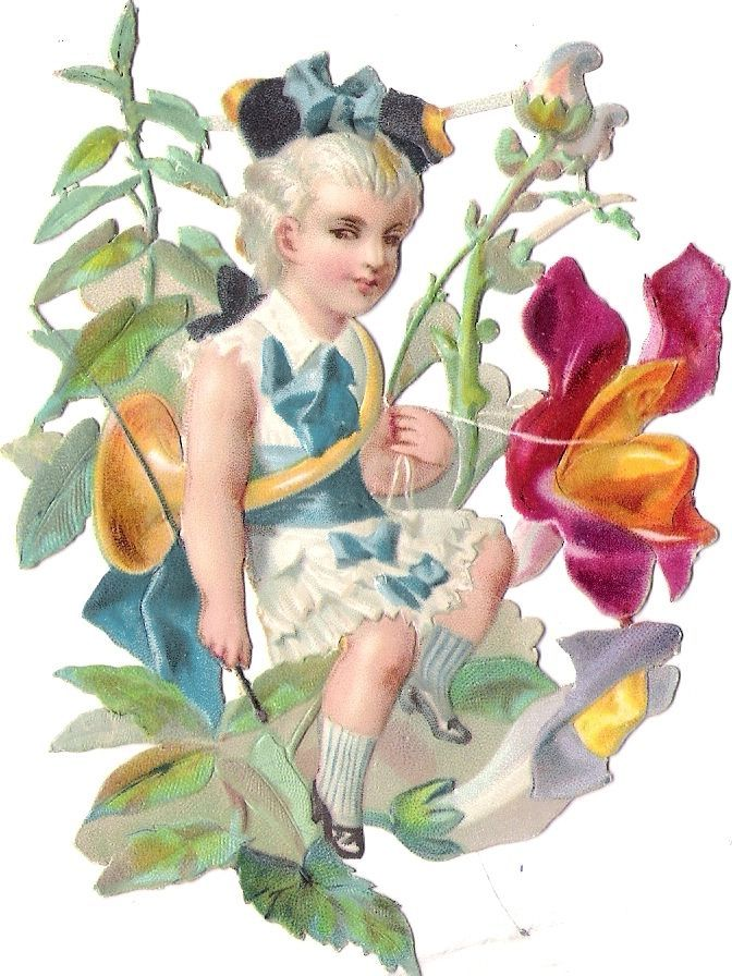 Oblaten Glanzbild scrap die cut chromo Blumen Kind flower child Elfe fee elf