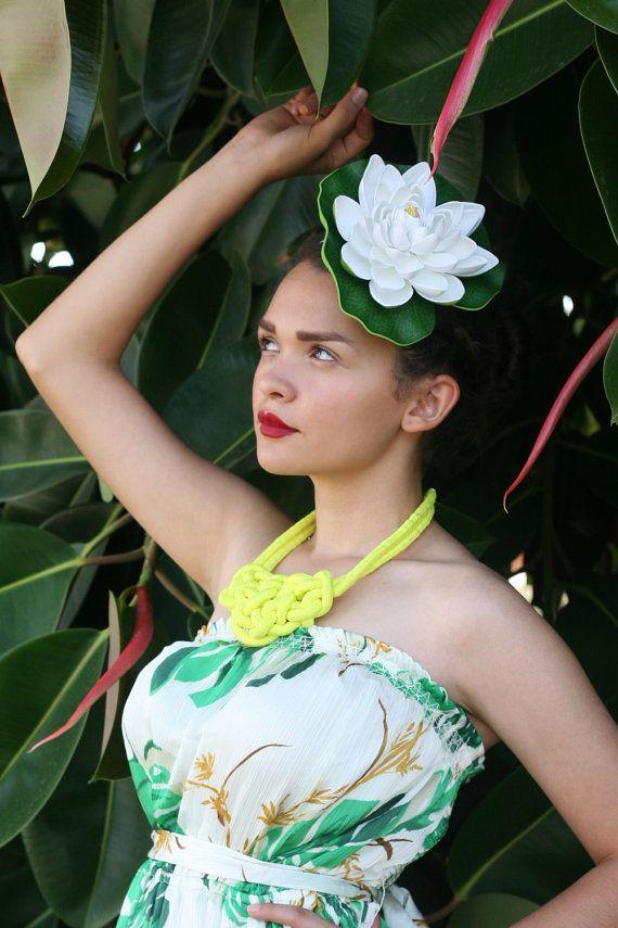 Lilly Pad Fascinator Hat (Tropical Wedding Bridal Bride Headpiece Hawaiian Lotus Flower Hair Comb Haircomb Hawaii Wedding Summer Flower)