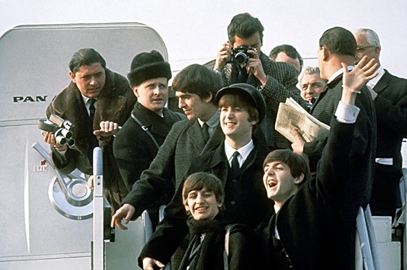 February 7, 1964: The Beatles land in New York    Read more: http://www.rollingstone.com/music/news/week-in-rock-history-the-beatles-land-in-new-york-20120206#ixzz1ldKKXY6C
