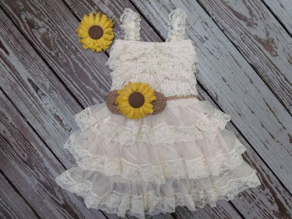 Sunflower Wedding-Sunflower Flower Girl Dress- Sunflower and Burlap-Country Chic Wedding