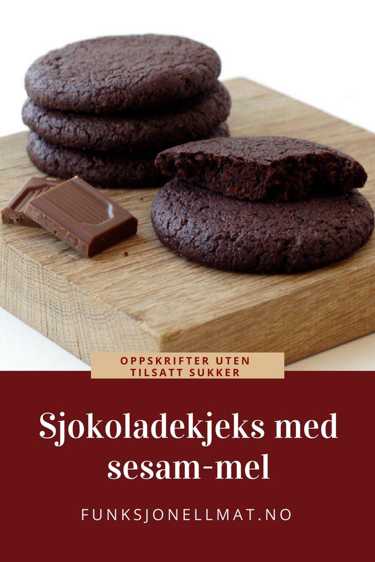 Sjokoladekjeks med sesam-mel - Funksjonell Mat | Dessert sjokolade | Oppskrift kjeks | Sunne kjeks | Oppskrift uten sukker | Chocolate cookies | Sugar free cookies