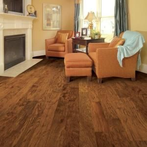 distressed kinsley hickory 38 in thick x 5 in wide x varying length click lock hardwood flooring sqftcs brown