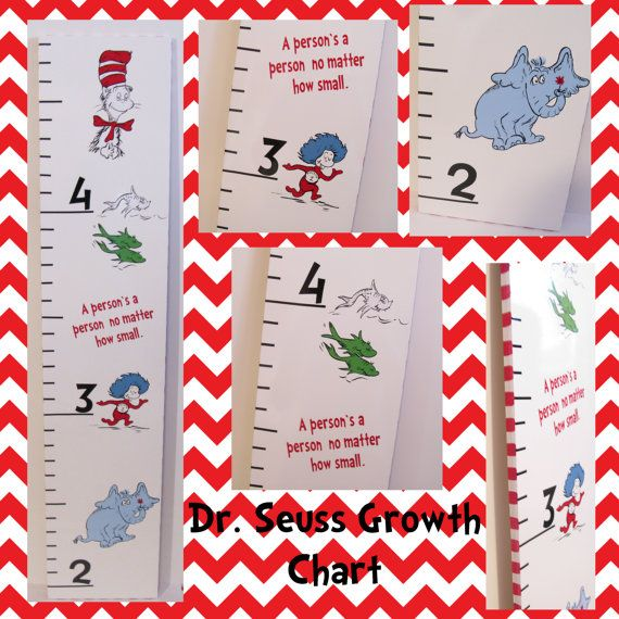 SALE Dr. Seuss Wooden Growth Chart Hand Painted Cat In The Hat Thing 1 One