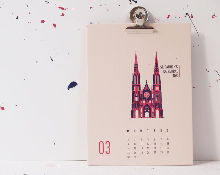 Buildings Of New York City - St. Patrick's Cathedral, mmmMAR Illustrated and hand screened by Marieken Hensen, Calendar 2015