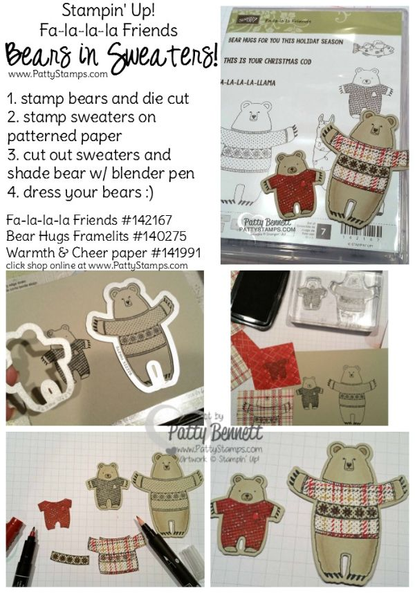 How to stamp the bears in sweaters for the Fa la la la friends bear hugs box by Patty Bennett. Stampin Up! stamps, ink and paper crafting supplies. Repurposed Paper Pumpkin kit box.