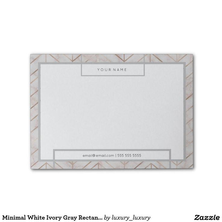 Minimal White Ivory Gray Rectangle Luxury Marble Post-it® Notes