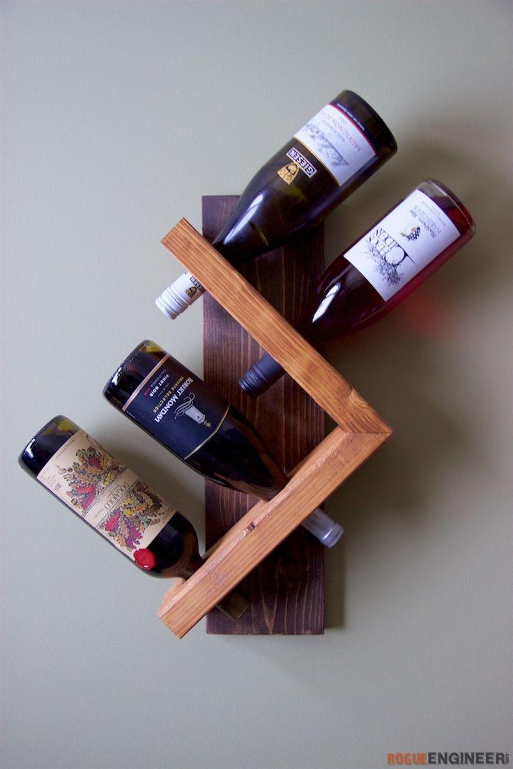 diy-wine-bottle-holder| Free Plan |  | rogueengineer.com #DiyWineBottleHolder#ManCaveDIYPlans