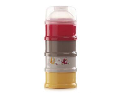Dosatore per latte in polvere Janè 4 scomparti.   Tutti i vasetti possono essere utilizzati separatamente come pratici contenitori per conservare in frigo, trasportare o riscaldare nel microonde gli alimenti del bambino: latte fresco, frutta, omogeneizzati, yogurt, etc.