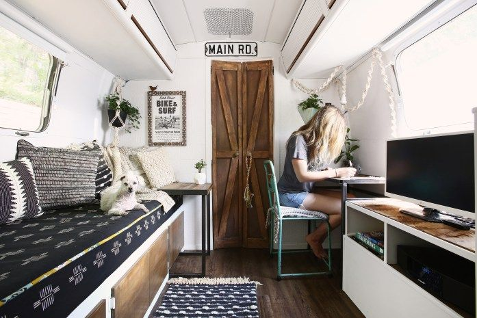 Airstream Office Space Remodel | Rear Desk – Mavis the Airstream